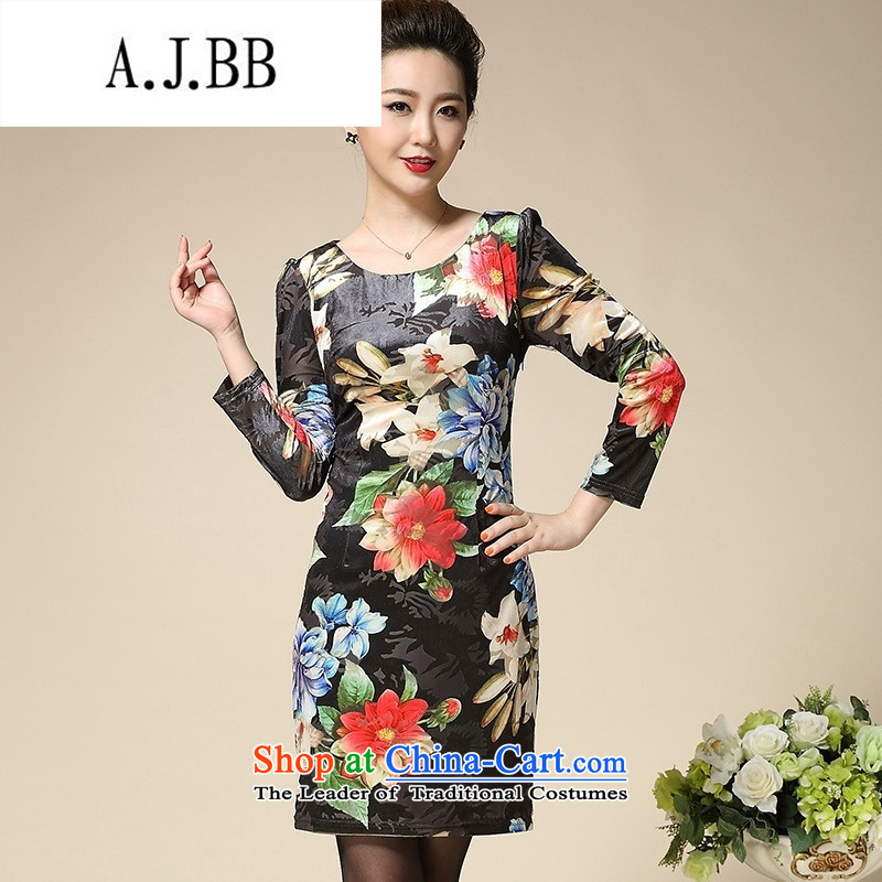 Connie shop autumn ? Memnarch new stamp Kim scouring pads middle-aged moms are long-sleeved dresses in long Golden Lily�M