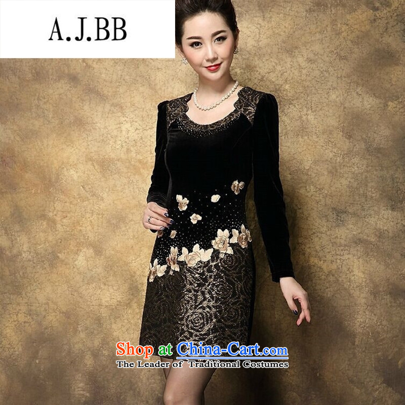 Connie shop in 琊 Memnarch Older Women's mom pack large load 4XL3XL autumn velvet gold embroidery stitching package and suit?3XL
