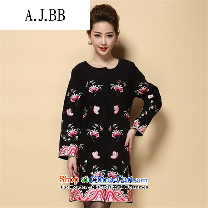 Memnarch 琊 Connie shop autumn and winter new elderly mother in large embroidered with long a wool coat black?4XL