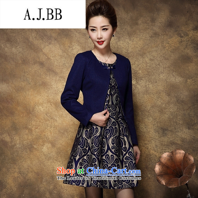 Memnarch 琊 Connie Shop large female middle-aged female Mother New) Autumn two kits wool dresses? Tibetan blue 3XL