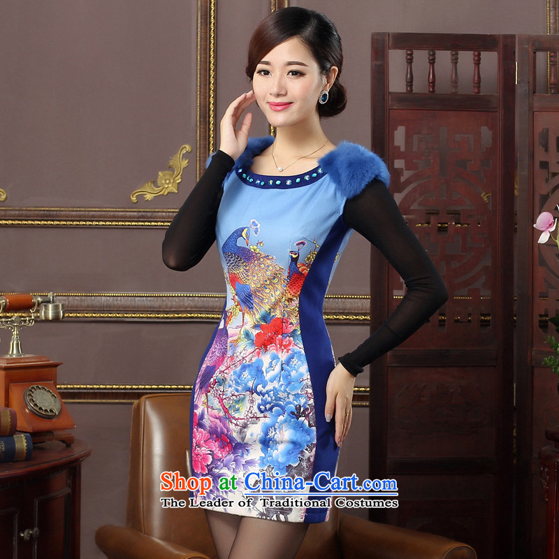In the winter of 2015 Oriental aristocratic new women's daily improved gross qipao rotator cuff peacock figure cheongsam dress?434423 Blue?XL