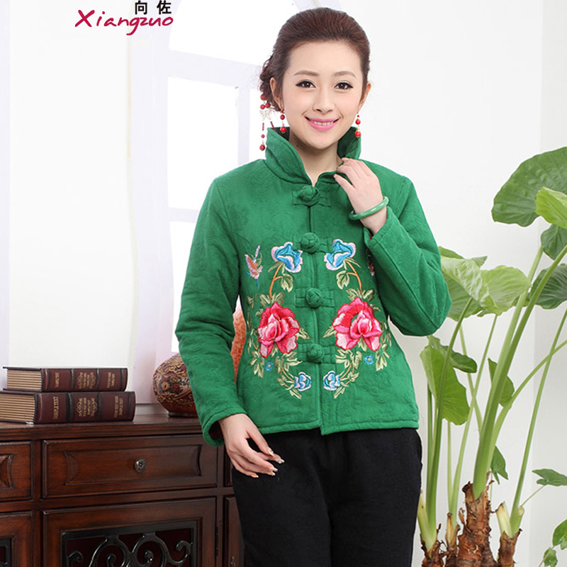 To Winter 2015 Women's new Stylish retro ethnic embroidery elegant 泾蜮 Bonfrere looked as casual two sets of Tang Dynasty will replace the girl kit燲XXL green