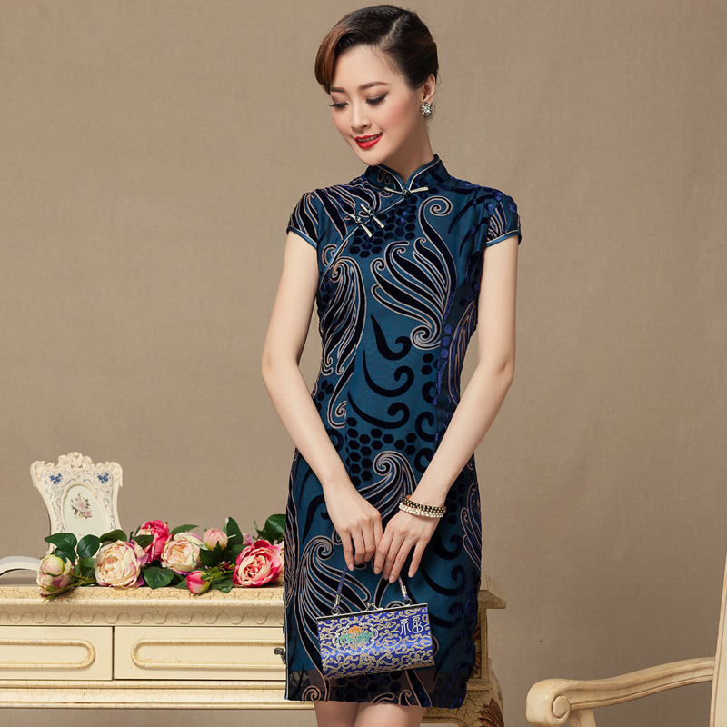 The seal of the�Republic of Korea, 2015 summer short cheongsam dress retro banquet service daily improved Ms. bows cheongsam red ground�XL