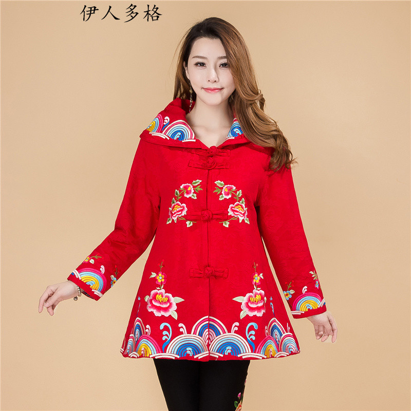 The Mai-Mai more new ethnic women turn A swing in spring and autumn jacket embroidered Tang Dynasty Chinese Disc cotton linen tie score of 9, long-sleeved T-shirt female -706 red L