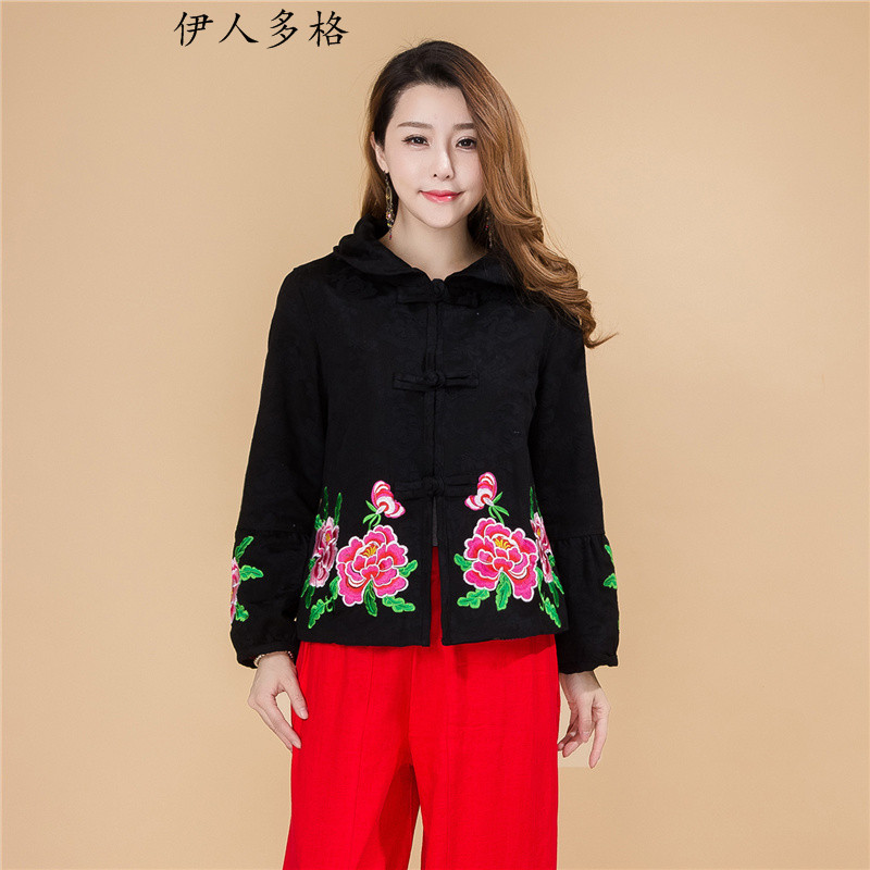 The Mai-Mai multi-autumn and winter new original ethnic women Tang blouses loose long-sleeved embroidered short cardigan thick coat female -707) Black�XL