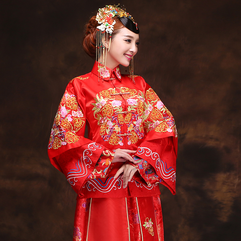 Miss Cyd Wo Service Time Syrian brides wedding dress 2015 new bride qipao gown skirt costume pregnant women serving Autumn Chinese dresses bows embroidery longfeng use red燣
