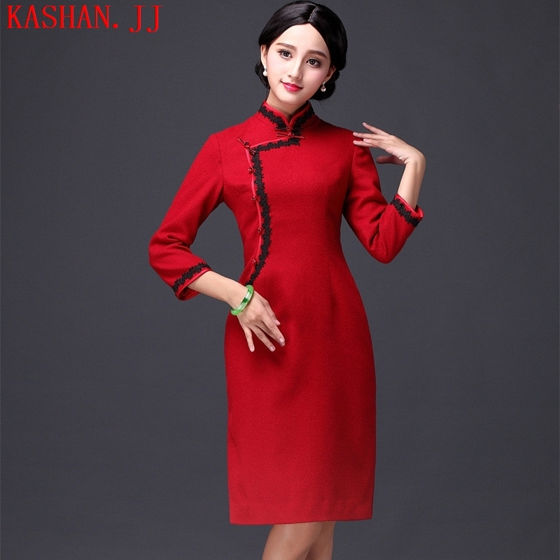 Mano-hwan's 2015 winter new long-sleeved solid Stylish retro qipao gross? in improved long-sleeved wedding cheongsam dress navy XXXL