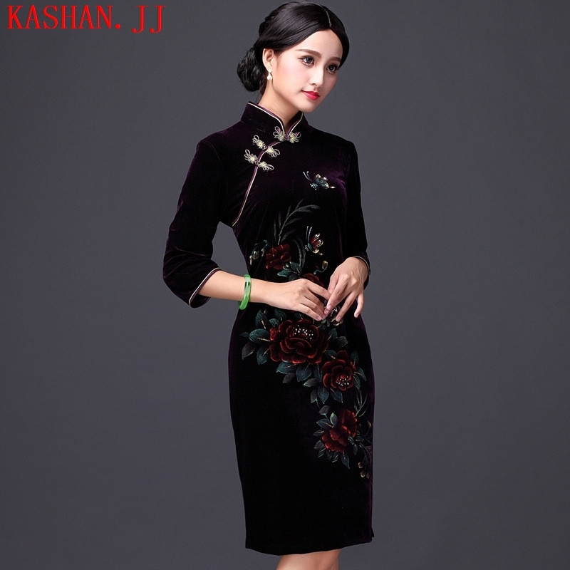 Mano-hwan's 2015 new banquet hand-painted silk cheongsam improvements really retro in long-sleeved cheongsam dress wine red燤