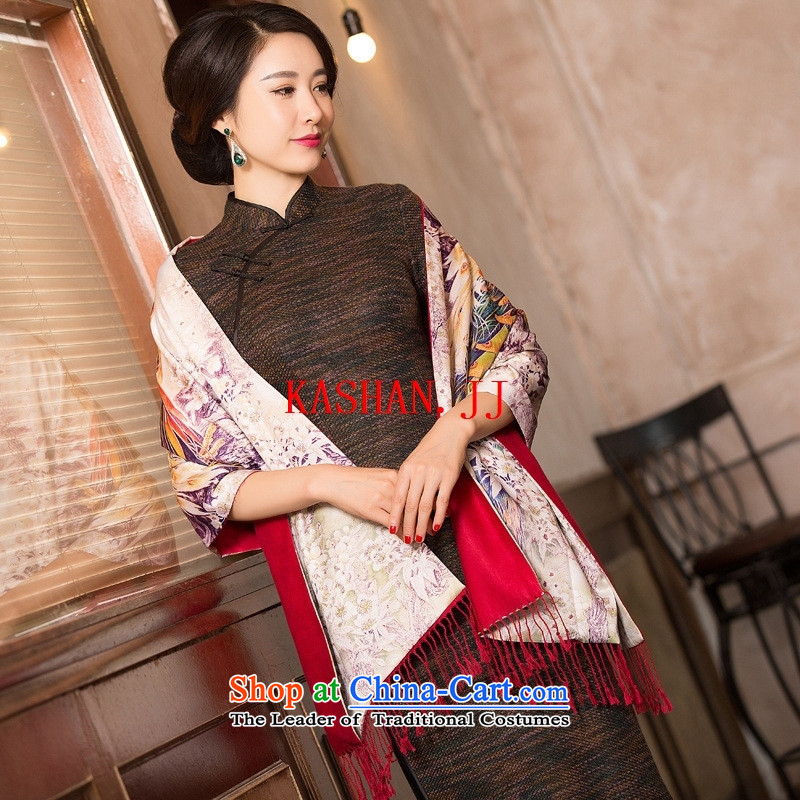 Mano-hwan long qipao 2015 Fall/Winter Collections New Sau San retro cotton linen, cuff qipao long improved�picture color manually 13051 arts�M