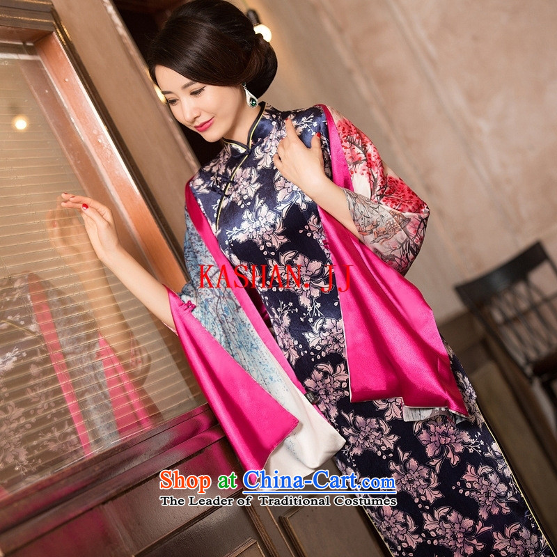 Mano-hwan's double by 2015 new qipao scouring pads in the autumn in long-sleeved wedding banquet mother who decorated female qipao skirt�13054 picture color�XXL