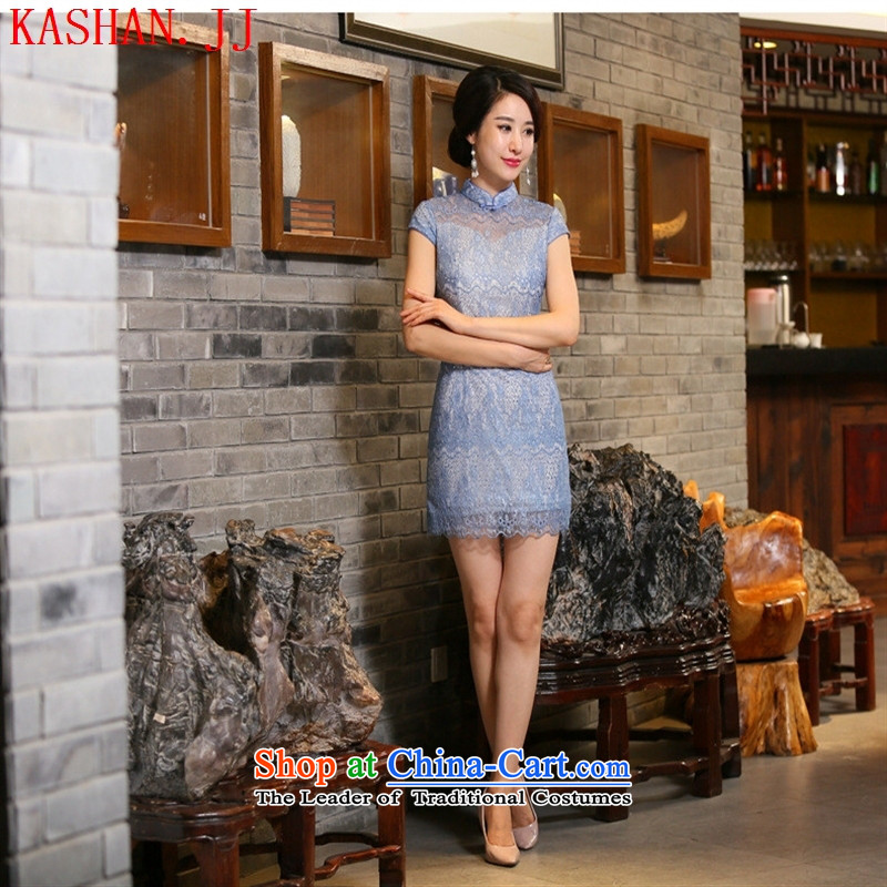 Mano-hwan's new fall qipao lace qipao short-sleeved short skirt the skirt Fashion cheongsam dress Pictures   color�M