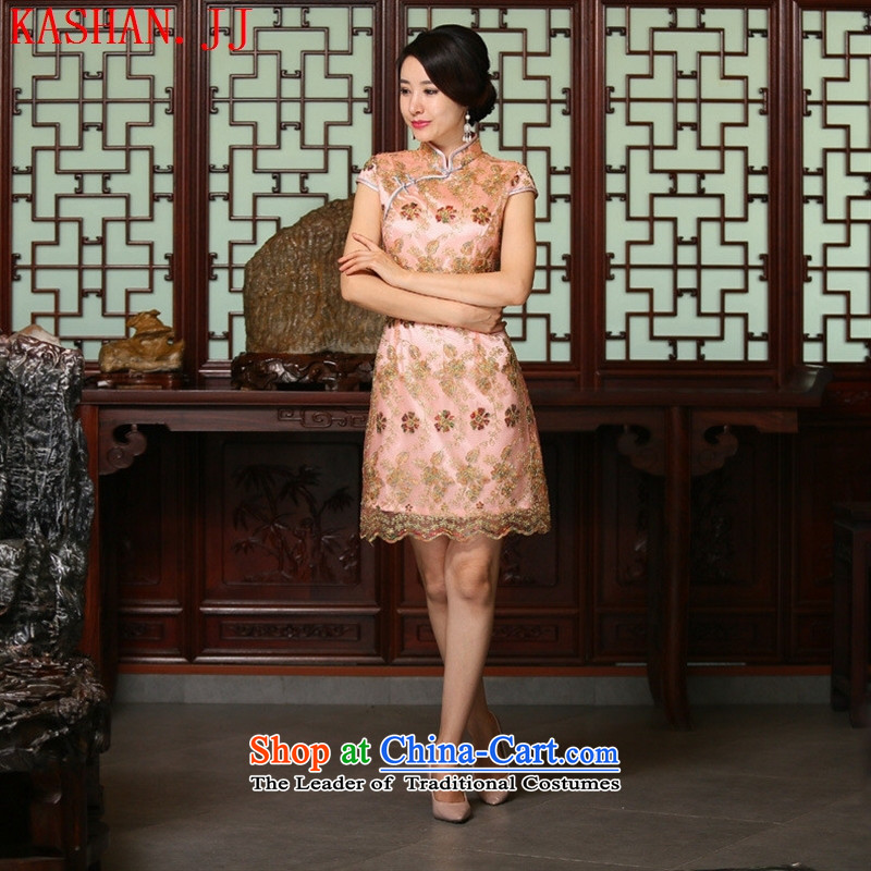 Mano-hwan's 2015 spring and fall new stylish retro in style qipao qipao lace cheongsam dress gold wire on chip cheongsam picture color燲XL