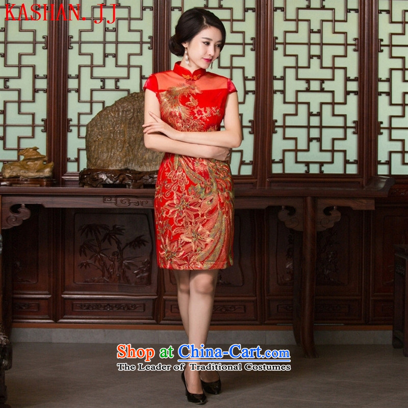 Mano-hwan's 2015 autumn and winter new improvement in, qipao qipao high on Lace Embroidery qipao's skirt red?XXL