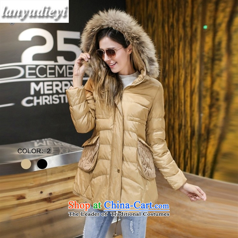The European site Spirit Kou *2015 winter clothing new products thick MM stylish Sau San for cotton coat knitted nagymaros pocket ?t��a black large code 4XL