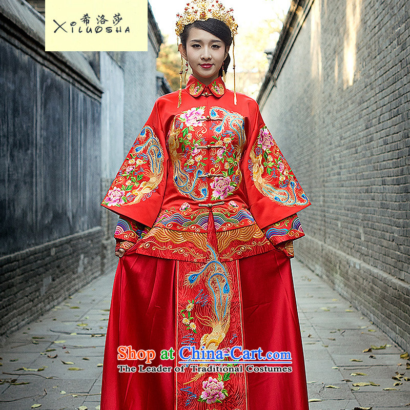 Hillo XILUOSHA Lisa _2015_ new Service bridal dresses Sau Wo wedding dress retro Chinese dragon serving drink use marriage kit autumn and winter female RED?M