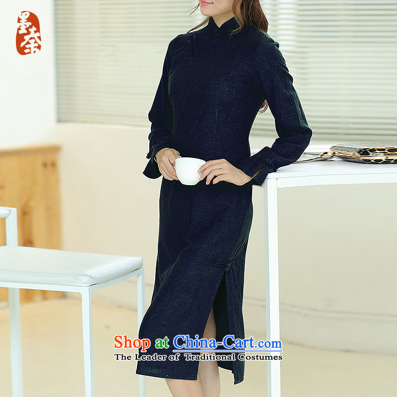 The qin designer original autumn and winter new cheongsam retro long cotton linen collar manually upgrading of solid color tie cheongsam dress mq1105012 navy blue long qipao燲XL