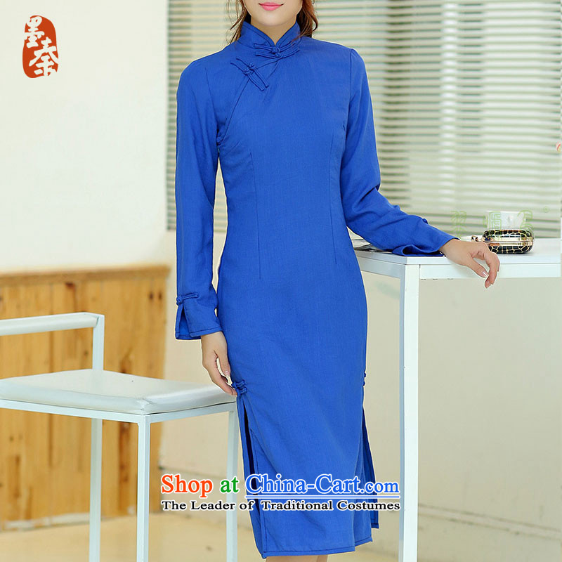 The qin designer original Fall_Winter Collections new cheongsam retro long cotton linen collar manually upgrading of solid color tie cheongsam dress mq1105015 blue long qipao S