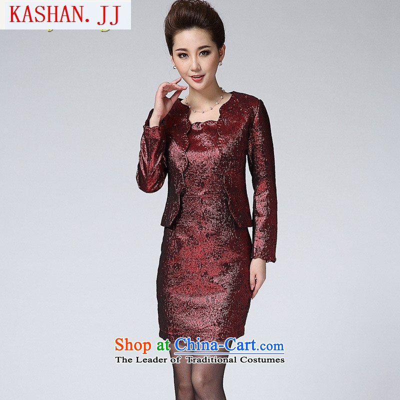 Mano-hwan's 2015 two kits of Sau San dresses autumn and winter, in the new large older women's wedding mother燣_165 88A_ red