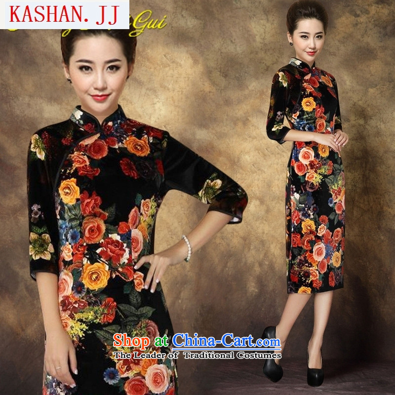 Mano-hwan's 2015 new Stretch Wool fashion, cuff Kim short cheongsam dress dresses source picture color XXL