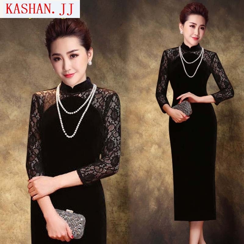 Mano-hwan's 2015 new long-sleeved qipao China wind black double stylish improved lace stitching long wool qipao black燤