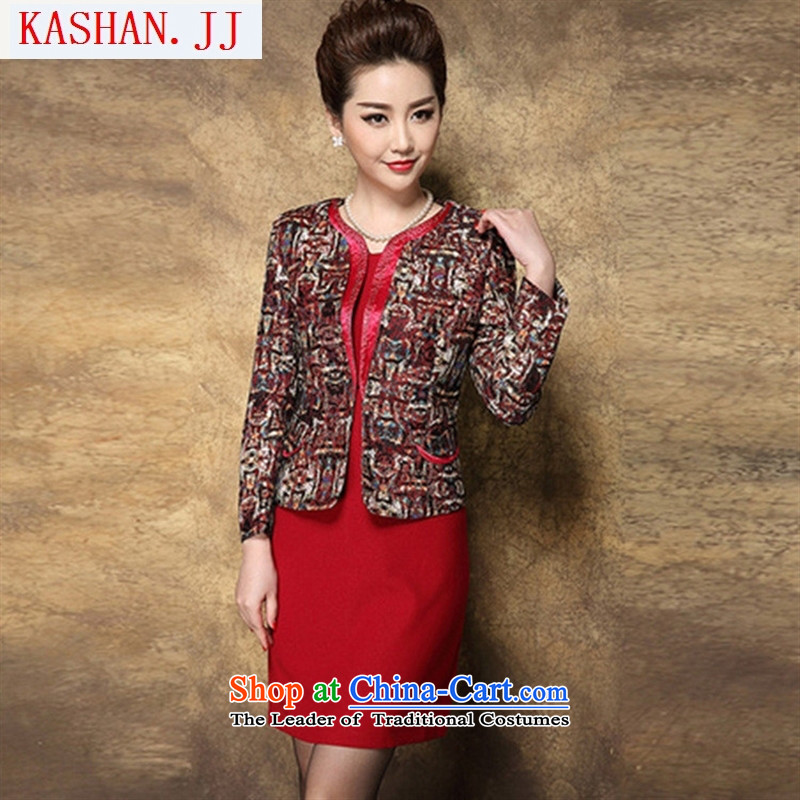 Mano-hwan's 2015 autumn and winter in the New Age Beauty lace jacquard larger Mother Women's clothes two kits dresses flower Yi Red Dress�L_175 96 _A_