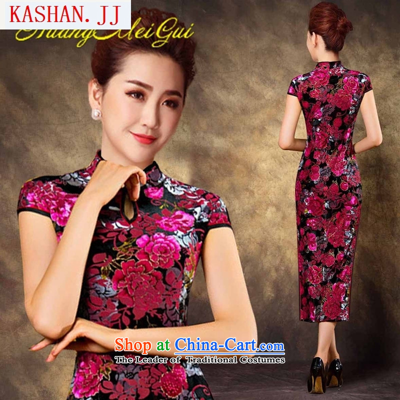 Mano-hwan's new long cheongsam dress fall short-sleeved Sau San cheongsam dress stylish long skirt scouring pads in the red燲L