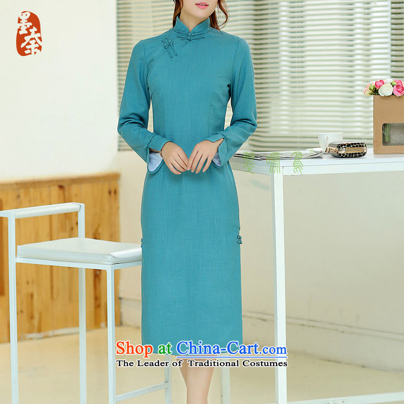 The qin designer original Fall_Winter Collections new cheongsam retro long cotton linen collar manually upgrading of solid color tie cheongsam dress mq1105017 lake blue long qipao燲XL