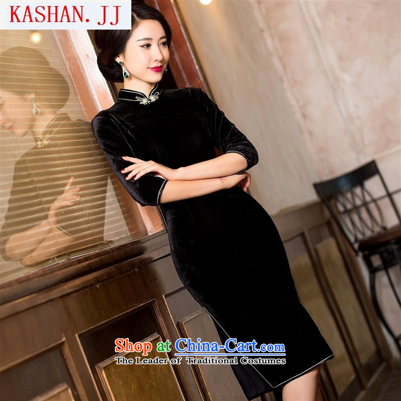Mano-hwan's seven black velvet cheongsam purple, simple and classy and stylish improvement of autumn and winter retro in new cheongsam black S