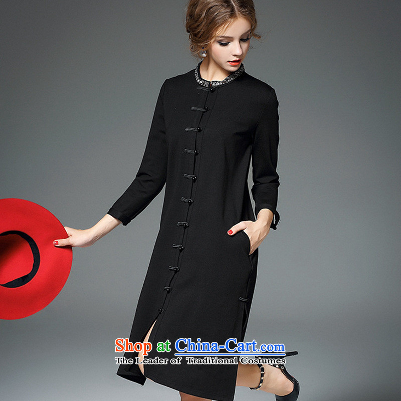 The case of the 2015 winter clothing new improved qipao retro-Clip Pin Collar relaxd longer drill windbreaker-dresses black燣