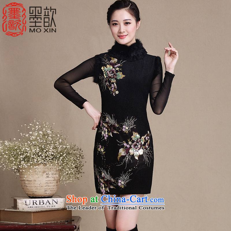The�15 autumn ? Valley Fall_Winter Collections for gross new skirt qipao Stylish retro Spangle Embroidery thick_ Improved cheongsam dress燳3226 Ms.燘lack燤