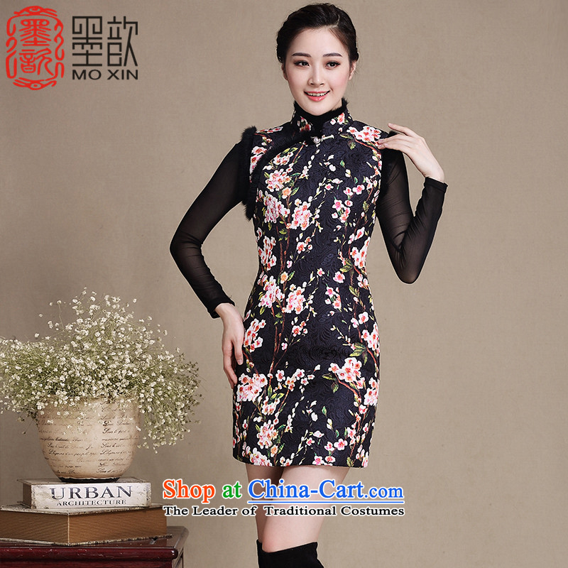 Recalling that the�2015 de ink ? cheongsam dress the new improved cheongsam dress of ethnic women in winter clothing cuff retro-thick hair�color photo of Qipao Y5138 collar�XL
