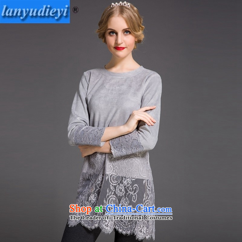 The main European site Fall 2015 for women western germany skin stitched lace in long-sleeved T-shirt, forming long gray shirt?XL