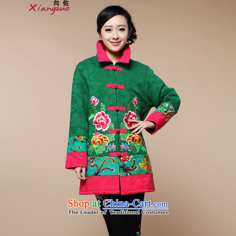 2015 WINTER female Korean version of the new trendy retro in long coat embroidered cotton coat two sets of Tang Dynasty will replace the girl kit�L green