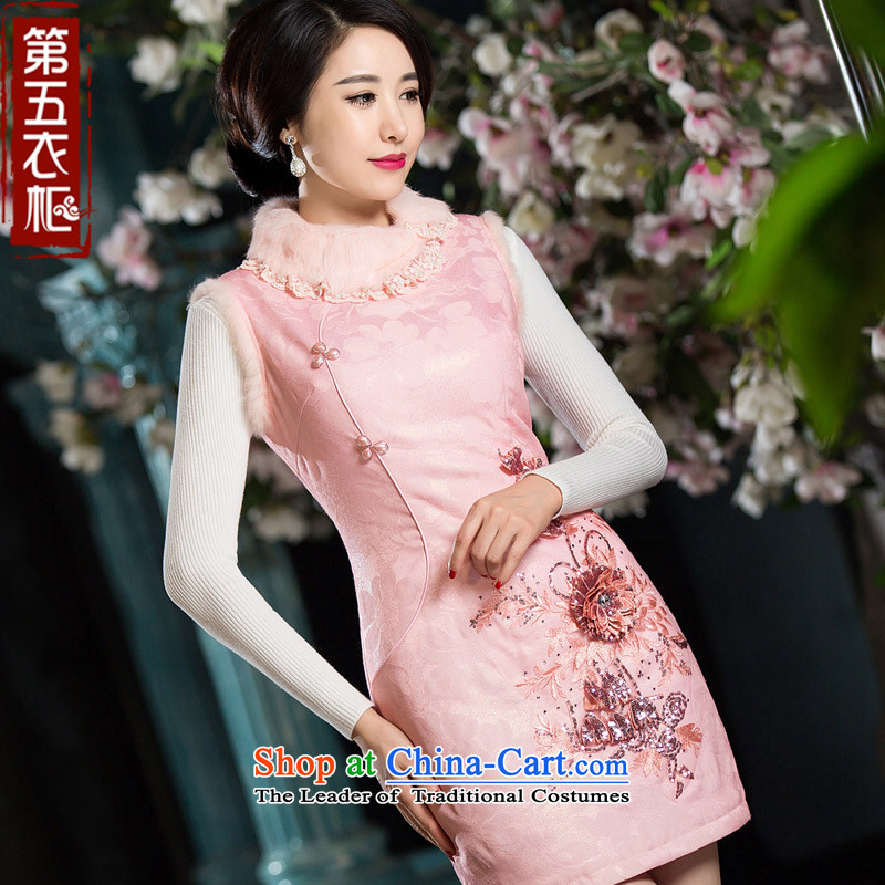 Eason Chan point cheongsam dress 2015 new winter clothing Pink Chinese Tang clamp cotton dress pink燲XL