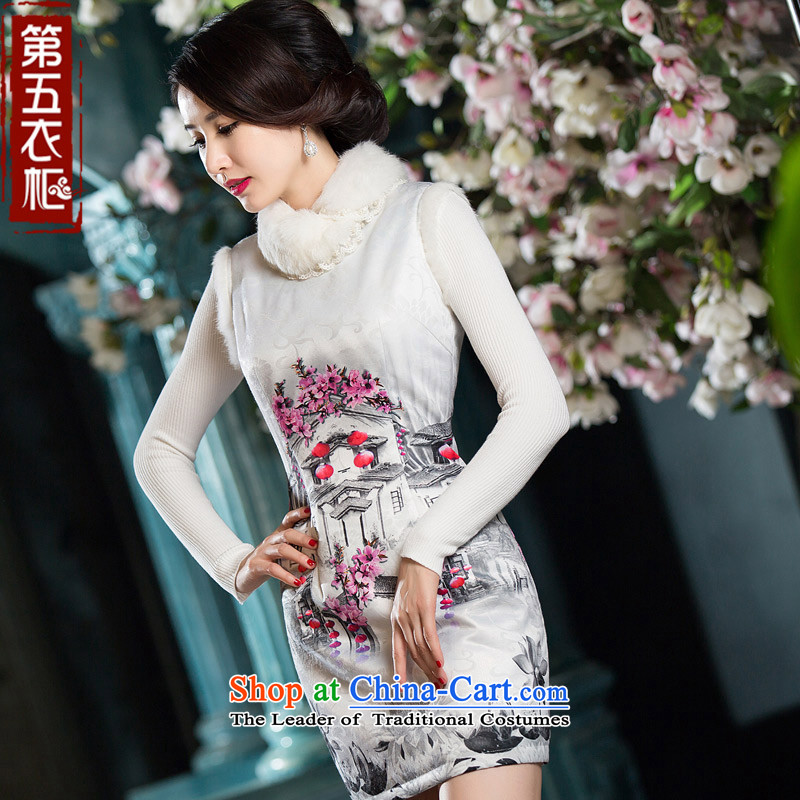 Eason Chan point new 2015 winter clothing improved Stylish retro hair for day-to-Folder Cotton White燤 cheongsam dress