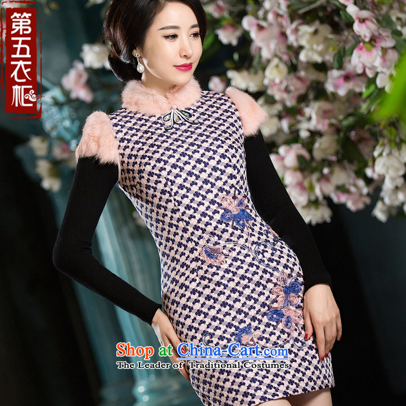 Eason Chan point new winter of 2015 Cotton literary style sub-folder of Sau San Chinese qipao short skirt pink?L