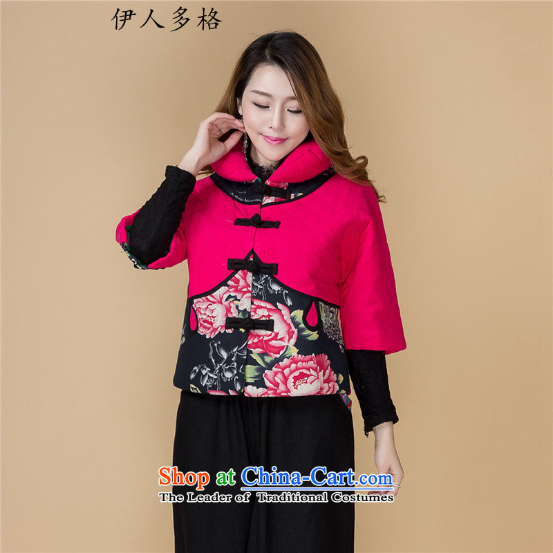 The Mai-Mai multi-winter new retro ethnic women Tang dynasty cotton linen cotton coat embroidered short, 7 cuff thick coat -968 female pink, robe XL