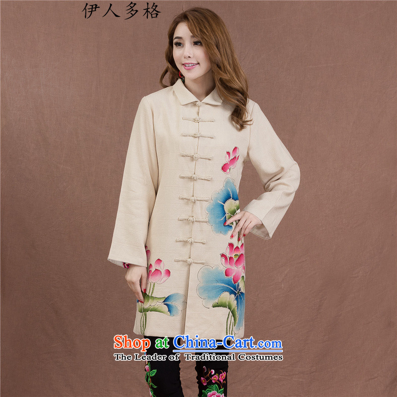The Mai-Mai more new robe of autumn and winter new ethnic hand-painted disc is long process the commission female cotton coat long-sleeved sweater cardigan picture color燣