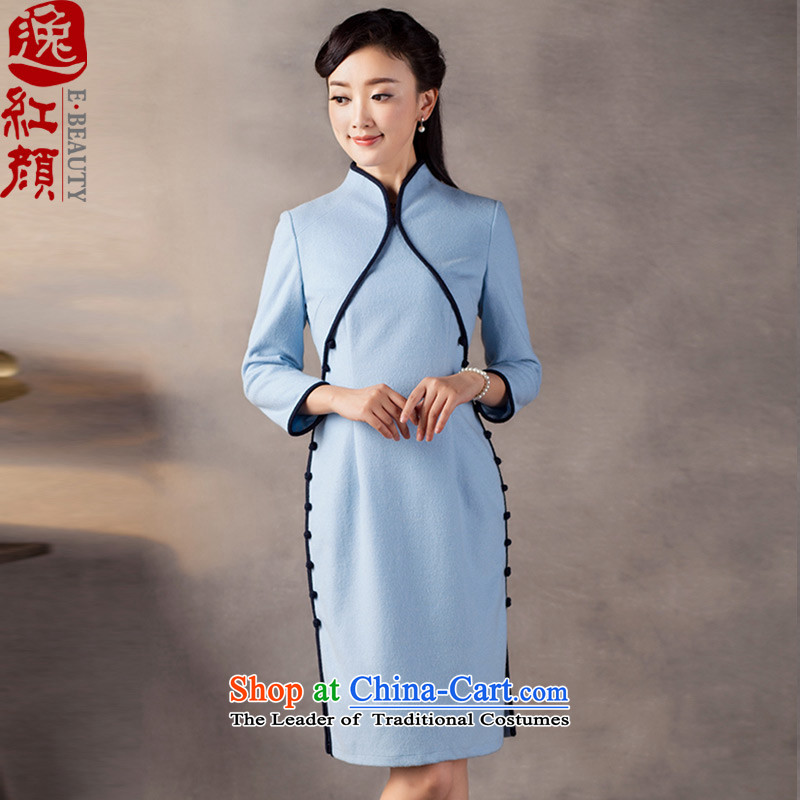 A Pinwheel Without Wind of escape tri-color? Mr Kwan 7 cuff cheongsam dress?2015 new autumn and winter retro improved blue qipao?XL