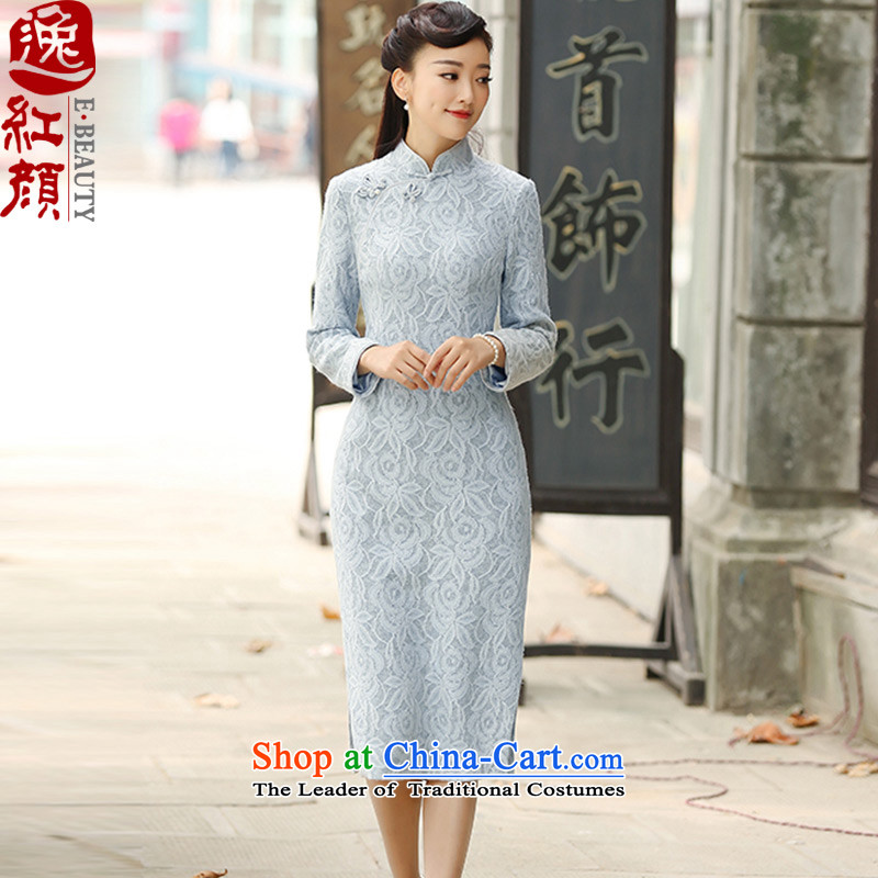A Pinwheel Without Wind, idealistic ink?2015 Yat new autumn and winter improved retro in style qipao long long-sleeved gray blue qipao skirts Sau San?XL