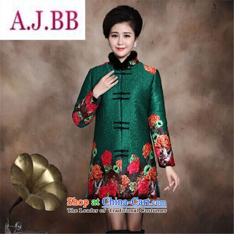 Ms Rebecca Pun and fashion boutiques in older women Our autumn and winter clothing larger mother boxed Tang dynasty stamp cotton robe 40-50-year-old thick coat green cotton coat?XXXL recommendations about 160