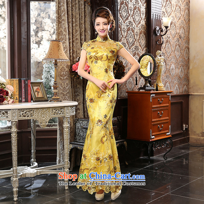 The new 2015 skirt qipao autumn and winter long bride bows clothing dresses marriage stylish Sau San dress gold XL  Suzhou Shipment
