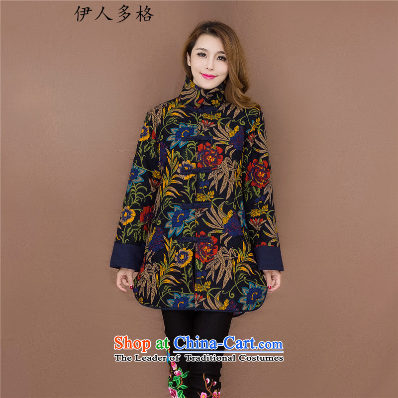 The Mai-Mai more new ethnic women in the countrysides long cotton printed service cotton linen winter jackets tray clip large leisure robe聽No. 2 Color聽L