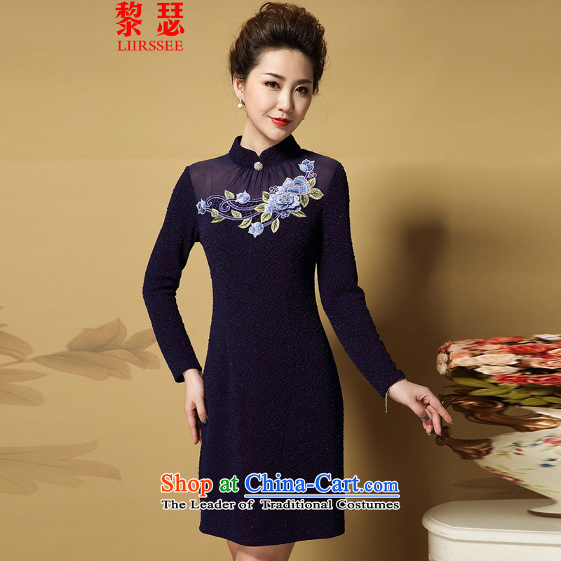 The middle-aged women's temperament new MOM pack dresses larger Sau San blue-violet?4XL qipao skirt
