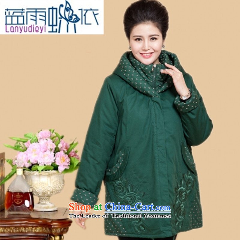 Ya-ting shop king code 200 catties of winter clothing middle-aged moms with cotton coat in the thick of older women's jacket grandma load cotton quilted fabrics green cotton coat?3XL recommendations 150 to 170 catties
