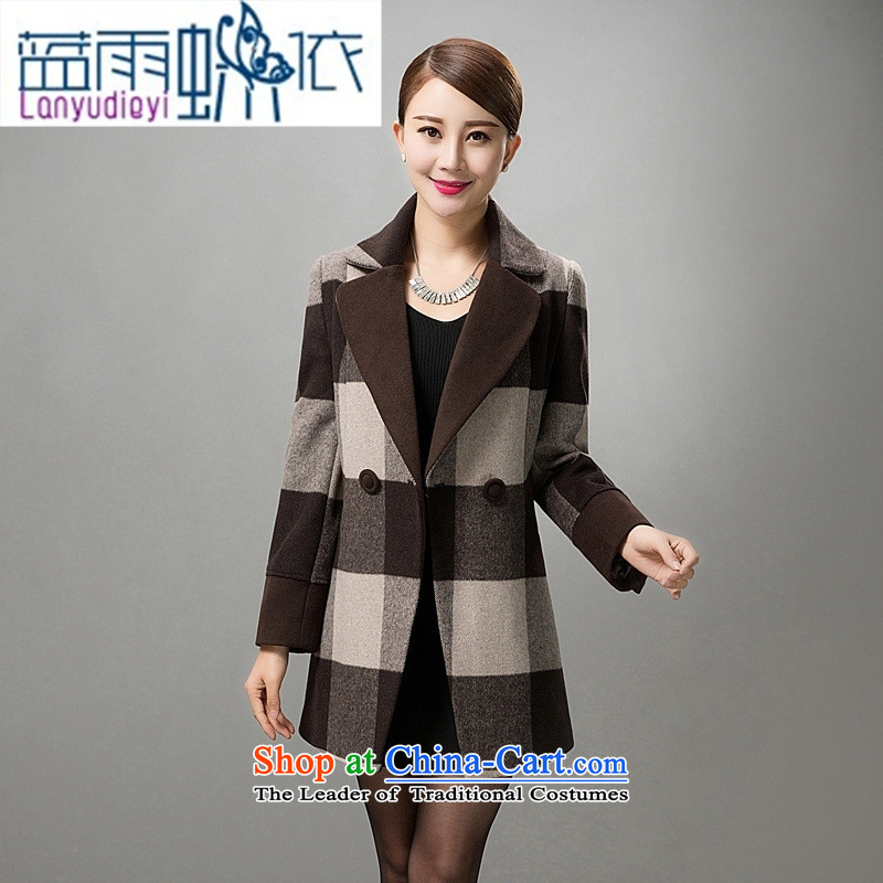 Ya-ting shop in older women cashmere overcoat autumn and winter new high-end wool coat large code? middle-aged moms with a yellow燲XXXXL