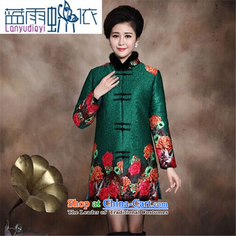 Ya-ting shop in older women Our autumn and winter clothing larger mother boxed Tang dynasty stamp cotton robe 40-50-year-old thick coat of red cotton coat XXXL recommendations about 160