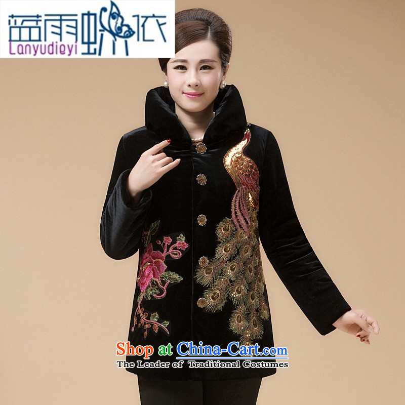 Ya-ting shop China wind cotton coat of winter clothing increased to Kim scouring pads in the countrysides Ms. embroidery long Tang in older cotton red燲L