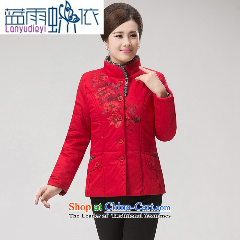 Ya-ting shop for winter new and old age are larger female COTTON SHORT stylish MOM pack for middle-aged cotton coat embroidered gross jacket in red XXL