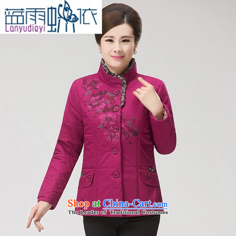 Ya-ting shop for winter new and old age are larger female COTTON SHORT stylish MOM pack for middle-aged cotton coat embroidered gross jacket in red XXL, blue rain butterfly according to , , , shopping on the Internet
